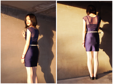 Marguerite Mengjie CHEN - American Apparel Silk Blue One Piece, Uniqlo Belt, American Apparel One Line Leggings - Moondance