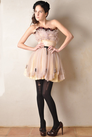 Rachel Hunt - Vtg 50s Pink Strapless Tulle Party Dress, L.A.M.B Brown Shoes - Tainted LOVE