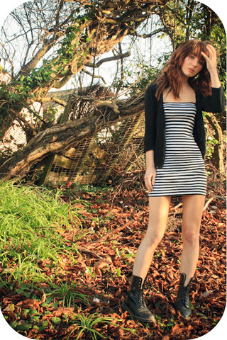 Amelia Sinnott - Topshop Striped Bodycon, ?? Plain Cardigan, Dr. Martens Doc - The earthquakes set off car alarms