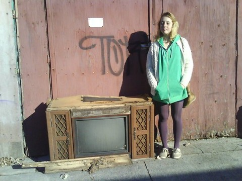 Stellar Bee - American Apparel Sweater, Value Village Cardigan, Urban Outfitters Tights, Walmart Canvas Shoes - Just chilling with this TV I know