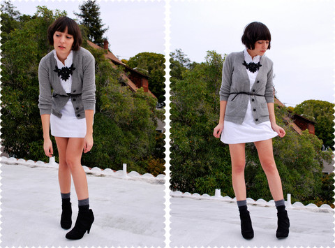 Cali Vintage - Glitzer Sequin Bib Necklace, J.Crew Cashmere Cardigan, Ebay Vintage Eyelet Dress, Urban Outfitters Skinny Leather Belt, Smartwool Socks, Payless Platform Ankle Boots - Going gray