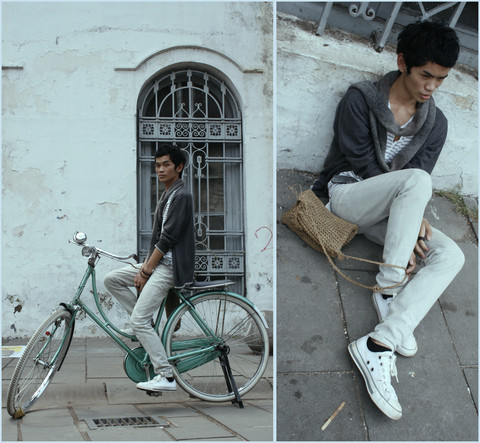Agung Tresna - Gap Gray & Gray Scarf, Vintage Gray Cardigan, Pull & Bear White And Gray Stripped Tee, Koi Store Sweet Gray Skinny Jeans, Converse White Simple, Malioboro Rattan Bag - Chemistry Quantum