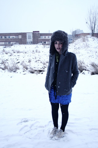 Ronja P. - H&M My House Cat, H&M Gray Wool Jacket, Black And Green Skull Scarf, Glitterish Skirt, Converse Low White - Let it snow, let it snow, let it snow.