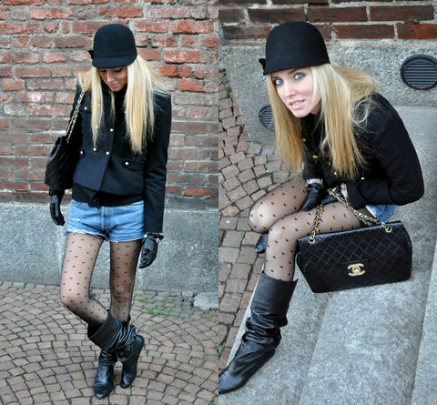 Chiara Ferragni - American Apparel Heart Tights, Levi's® Levi's Old Shorts, H&M Black Coat, Chanel 2.55 Jumbo, Lolita Boots - Who wants heart tights?