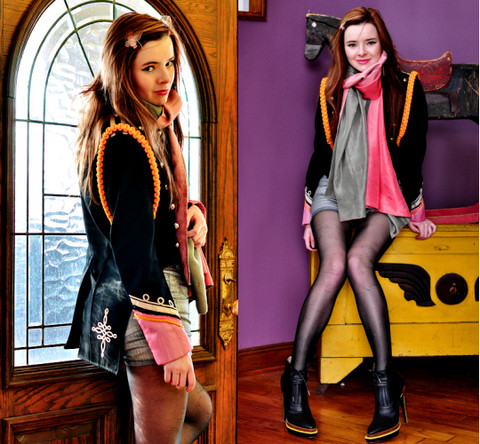 Jane Aldridge - Vntg Band Jacket, Superfine Silver Shorts, Proenza Schouler Boots - LIKE A GLITTERING PRIZE