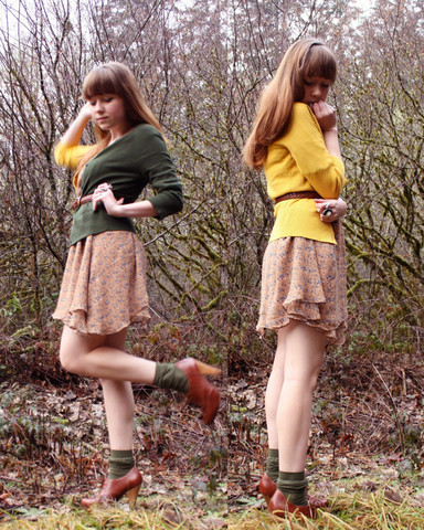 The Clothes Horse R - Neneee Court Jester Cardigan, Clothes Horse Dress, Thank You Mart Olive Socks, Seychelles Brown Heeled Oxfords - Court Jester