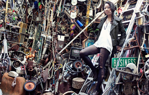 Tiffany Diane . - Charlotte Ronson Motorcycle Jacket, Quail Link Necklace, Alexander Wang Tank, Diy Ripped Leggings, Forever 21 Leather Shorts, Forever 21 Wedges - Cathedral of Junk