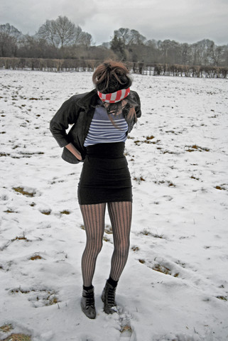 "Fia Houston-Hamilton - Black Legwarmer (Worn As Belt), Albert Nipon Striped Scarf, Parisienne Vintage Store Navy And White Breton Stripe Jumper, Puma Black Vest Top (Worn As Skirt), Gift Pattern Tights, Parisienne Vintage Store Boots, A Child's Playbox ;) Black Leather Jacket - ""Excusez-moi"" ""Pardon"""