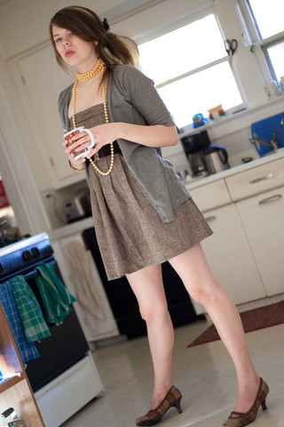 Taylor B - Forever 21 Sweater, Papaya Tweed Dress, Tweed Shoes, Beads - Thinking about coffee