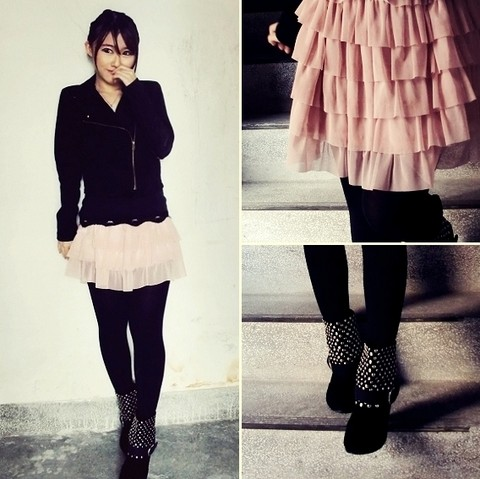 Jasmine L - Net Black Rider Jacket, F.I.N.T. Pink Tulle Skirt, Marcella Black Tights, Muu Studded Booties - O sweet reBeL !!