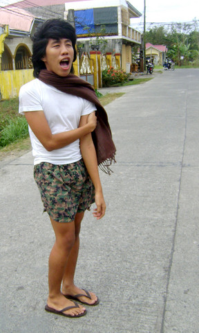 Yummiewill Brown - Pashmina Scarf, Carter Cotton Tshirt, Ukay, Quezon City Cotton Shorts, Beachwalk Rubber Slippers - Yawning