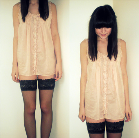 Nicole Louise De Smith - Topshop Buttoned Cami, Debenhams Hold Ups - 6.