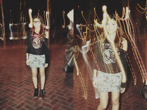 Camille Sioco - Lonsdale Off The Sholder Jersey, Monla Acid Wash Skirt, Mollini Black Shoes - Sydney Night Lights