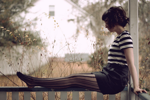 Vanessa P - Forever 21 Striped Shirt, Forever 21 Bow Skirt, Urban Outfitters Tights - Rainy day