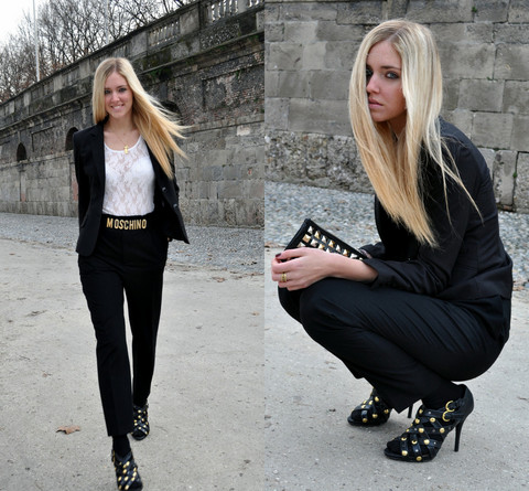 Chiara Ferragni - Zara Trousers, H&M Jacket, Primarck Gladiator Shoes, Marc By Jacobs Studded Clutch - Looking like a man