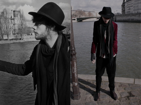 CLEMENT LOUIS . - The Kooples Grey Gloves, Frip Black Hat, 0044 Paris Grey Scarf, 0044 Paris Black Scarf, Frip Red Velvet Blazer, 0044 Paris Black Velvet Pant, Zara Brown Boots - Blue Blood / CLEMENT LOUIS.
