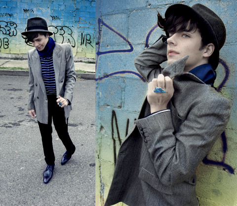 DIEGO DOM - H&M Hat, Hugo Boss Scarf, Givenchy Blazer, H&M Cotton Trousers, Lloyd Shoes, Sale! Turquoise Rings - THE SPIRIT