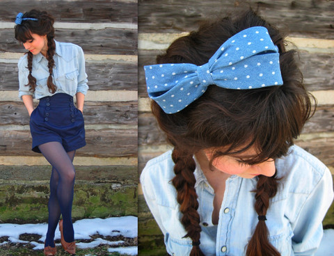 Lauren Winter - Forever 21 Chambray Polka Dot Bow Band, Koto Men's Chambray Button Up, Forever 21 High Waist Sailor Shorts, Vintage 1940's Fringe Heels - The blues are still blue