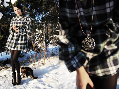 Barbro Andersen - Ellos Flannel/Plaid Shirt, Old Necklace, X It Booties - Friday mess-up