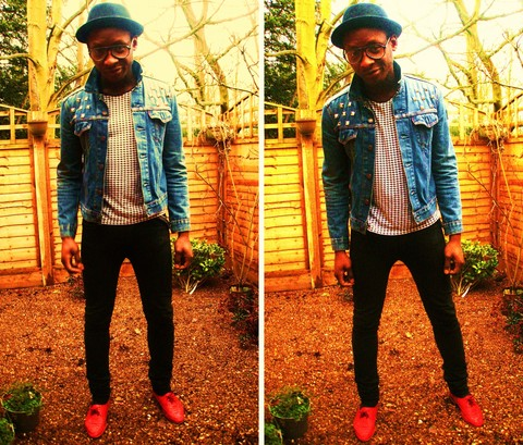 Mr. S - Porkpie, Denim, Houndstooth Tee, Cheap Monday Mondays, Lace Ups - BLOOD RED SHOES