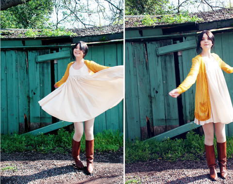 Lily L - Rodarte Yellow Lace Cardigan, H&M Babydoll Dress, Vintage Leather Boots - Dancin' where the stars go blue.