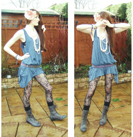 L M - Dorothy Perkins Mix Of Seperate Pearls, Primark Denim Vest   3 Dress Sizes Bigger Than Mine :), Studded Belt, Primark Lace Tights, Primark Black Knee High Socks, Matalan Grey Boots - D.I.N.O.$.A.U.R