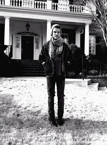 Noah GoetschB - Scarf, Leather Man Boots, American Apparel Ripped Jeans, Thrift Store Jean Jacket, Urban Outfitters Beanie - I like the cold weather
