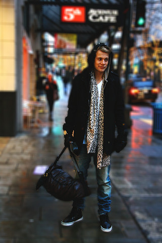 Koa Pennock - G Star Raw Military Coat, Stephen&Taylor Leopard Scarf, Stephen&Taylor Leather Duffle, Helmut Lang Denim - <3 Seattle