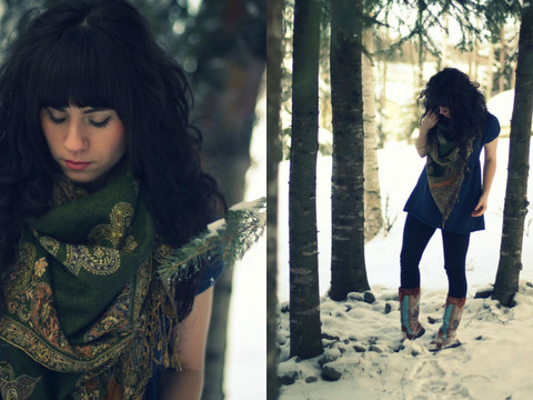 Delightfully Tacky . - Pashmina Scarf, Thrifted Top, Forever 21 Leggings, Minnetonka Boots - Rosemary & Thyme