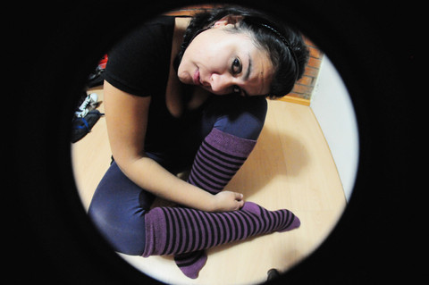 Jana T. - Bershka Shirt, Bershka Purple Leggins, Supermarket Socks - I know I look tired