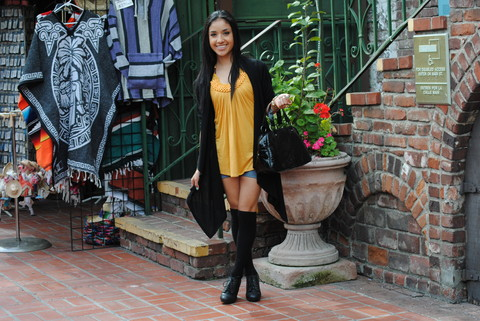 Dulce Ruiz - Aldo Shoes, H&M Socks, Forever 21 Purse, Fashion Max Top - In a Colorful Place