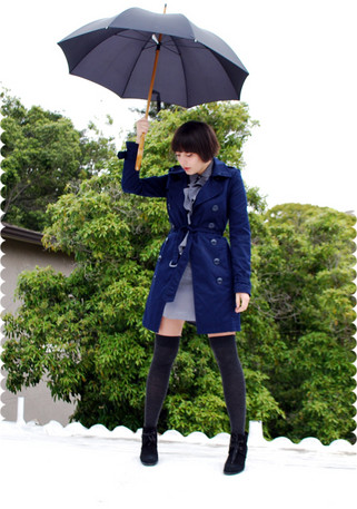 Cali Vintage - H&M Trench Coat, Obey Ruffle Front Dress, Tabio Wool Otk Socks, Dkny Vintage Suede Boots - Inky blues
