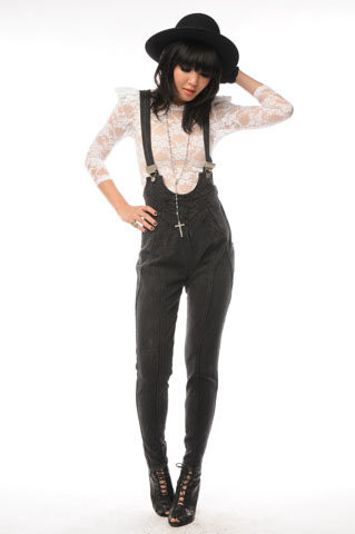 Nida Elizabeth - Lace Sharp Shoulder Top, Vintage Denim Overalls - Teen Witch