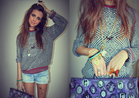 Perventina Ols - Dkny Sweater, Diesel Shorts, Killah Bag, H&M Jewelry, Diy, Real Butterfly Ring, Chanel Tattoo - I love men's sweaters