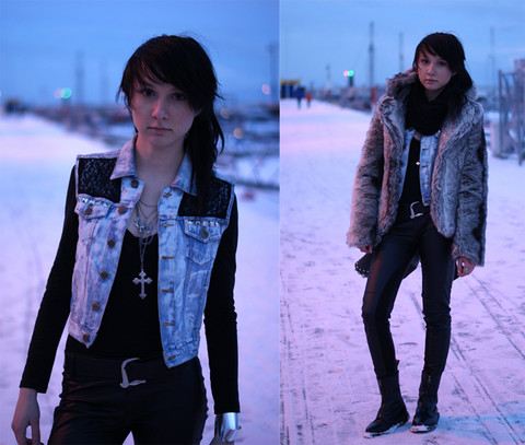 Kamila Skowronska - H&M Bracelet, Diy Vest, Zara Pants, Cubus Fake Fur, Dr. Martens Doc Boots, Diy Cross Necklace - Red light