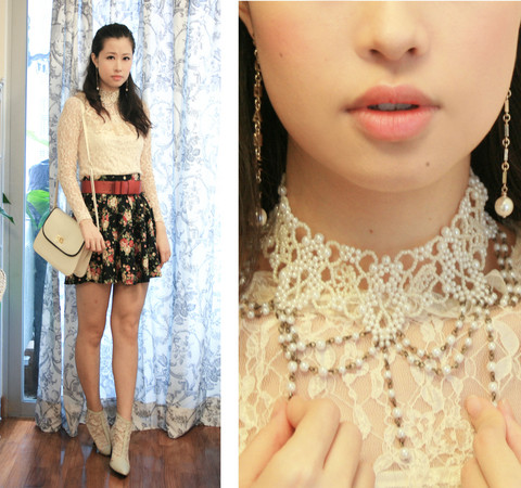 Mayo Wo - Chanel Dangling Pearl Earrings, Anna Rose Lace Blouse, Pippies Lace Boots - Pearly necklace