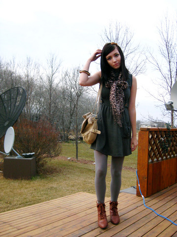 Breanne S. - Sirens Dress, Booties, Aldo Bag, Lechateau Leapord Scarf - Pour