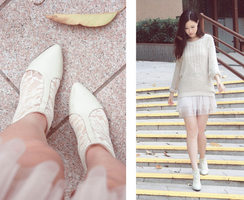 Mayo Wo - Pippies Ivory Lace Ankle Boots, H&M Pearly Jumper, Tutu - My luv for this pair is beyond words