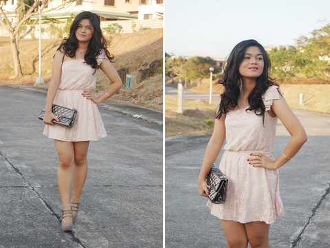 Zara Pink Lace Dress, Rockwell Quilted