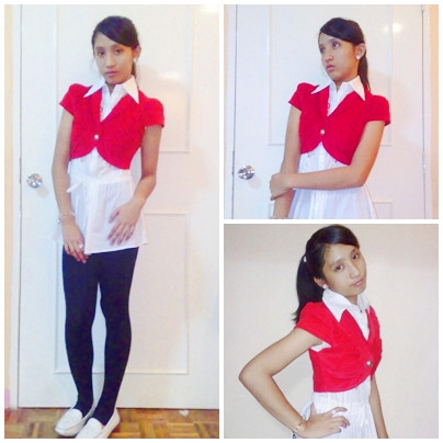 Natalia B - Hush Puppies White Flats, Black Tights, White Dress, Red Cardigan - Eve Bowling