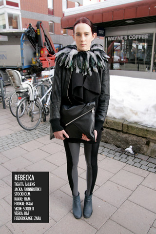 Rebecka Nyman - Zara Feathercape, Cheap Monday Handbag, ÅHléNs Tights, Scorett Shoes, H&M Black Jacket - Baby i'm the worrying kind
