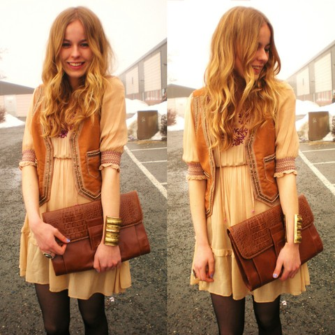 Frida Johnson - Indiska Dress, 2hand Vest + Bag - JUST SMILE :)