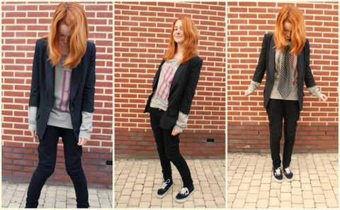 Sarah F. - Tally Weijl Blazer, Bershka Sweater, Criminal Damage Skinny Jeans, Vans Shoes, It's From The Bassplayer Of Dutch Band All Missing Pieces ;P Tie - VIRTUE.MINE.HONOUR