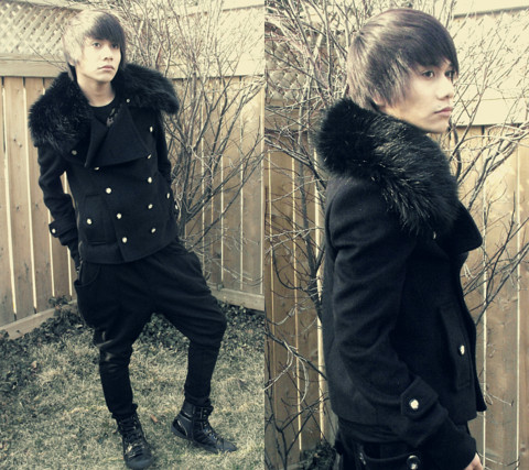 Marc Bueno - Virginblak Napoleon Fur Jacket, Virginblak Harem Pants, Aldo Shoes - Satellite Heart