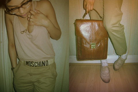 Helina Varma - Topshop Vest, Me & Zena Necklace, H&M Trousers, Office Brogues, Urban Outfitters Lace Socks, Vintage Bag - A FINE ROMANCE