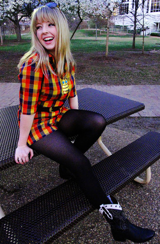 Ashley D. - Vintage Plaid Romper, Thrifted Belt, Thrifted Owl Necklace, Vintage Cowboy Boots - Rompin' in the park