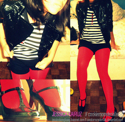 Jessica Kairuz - Thrifted Leatherette Jacket, Thrifted Striped Top With Red Buttons, Mom's Old Stuff Black Shorts, Red Tights, T Strap(These Are Actually One Of My School Shoes Teehee) - LOL Super old.