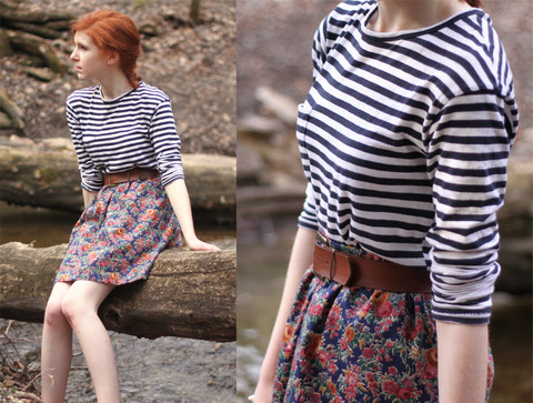 Rachael S - Zara Striped Shirt, Made By Me Hand Skirt, Thrifted Belt - In the woods
