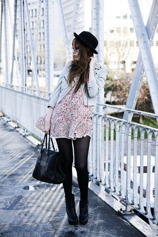 Louise Ebel - Mulberry Bag, Vintage Dress, H&M Jacket, Topshop Boots - Bastille.