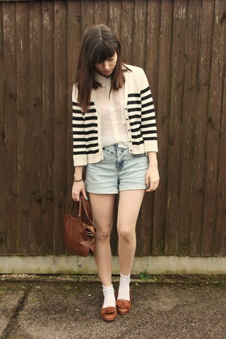 Sarah B - Striped Cardigan, Cream Sheer Blouse, High Waisted Denim Shorts, Ankle Socks, Loafers - You wouldn't know what to say to yourself